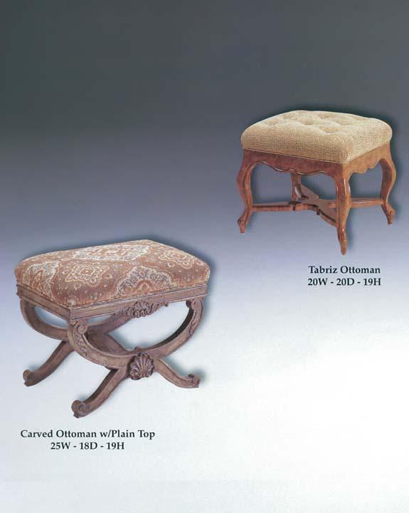 Carved Ottoman & Tabriz Ottoman