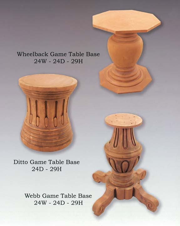 Ditto, Webb & Wheelback Game Table Bases